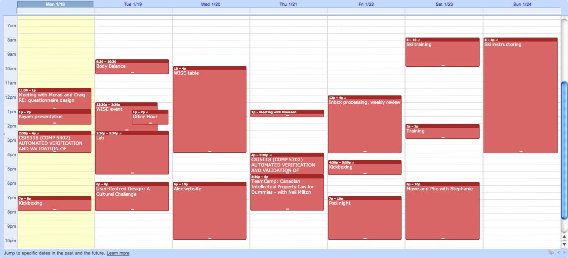 Calendar for w/c January 18th
