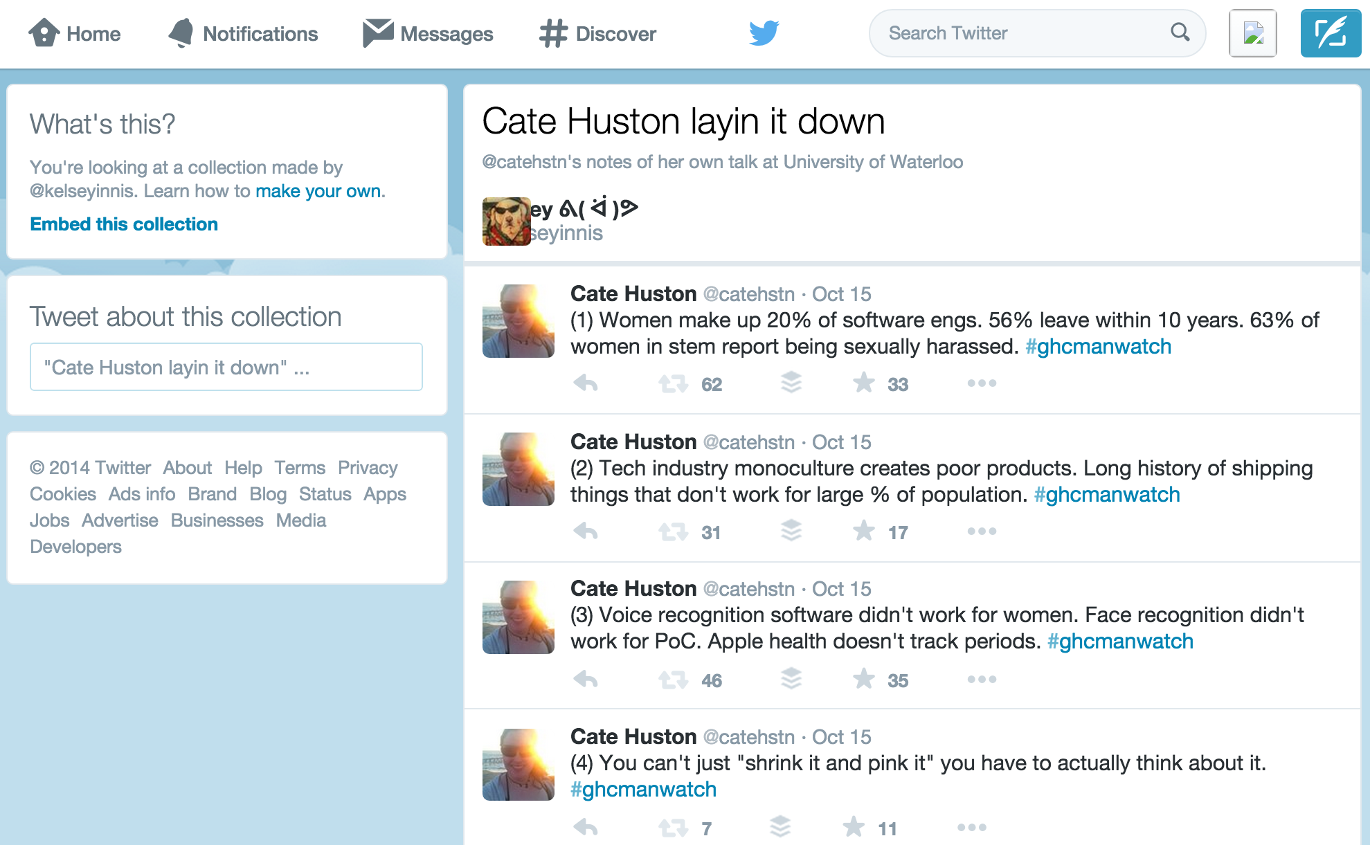 collection of tweets from my talk