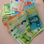 The assortment of currencies I had with me in NK