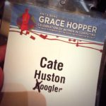 "GHC 2014 badge, ""Google"" is modified to say ""Xoogler"" instead."