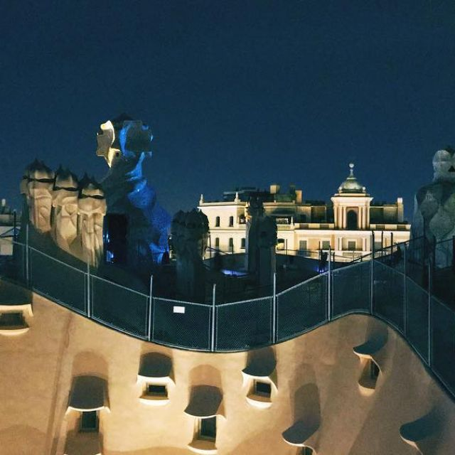 Nighttime on the roof of Casa Mil